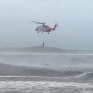 Rescue 118 assisting in the rescue of two surfers in Enniscrone last Saturday night