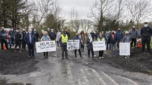 Locals protesting about the possible closure of a road off the N15 near Grange recently. Pic: Donal Hackett
