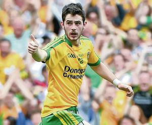 Donegal forward and IT Sligo student Ryan McHugh gives the thumbs up after scoring Donegal's first goal against Dublin in the recent All-Ireland semi-final at Croke Park.