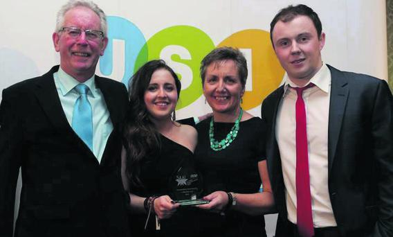 At the award ceremony in the Shelbourne Hotel, Dublin, were Luke's parents, Martin and Margaret Savage, and students union officers, Anita Hurst and Paul Smith.
