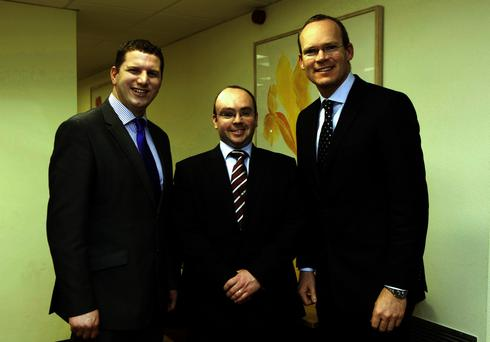 Macra President, Kieran O'Dowd (centre), with Minister for Agriculture, Simon Coveney and and his predecessor as president, Alan Jagoe.