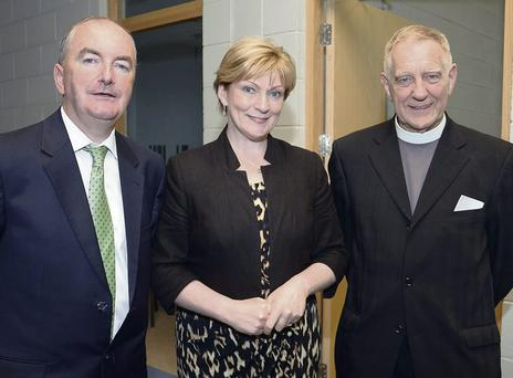 RTE's Tommie Gorman, Dr Terri Scott, president of IT Sligo and Rev Alan Mitchell at Summerhill College opening.