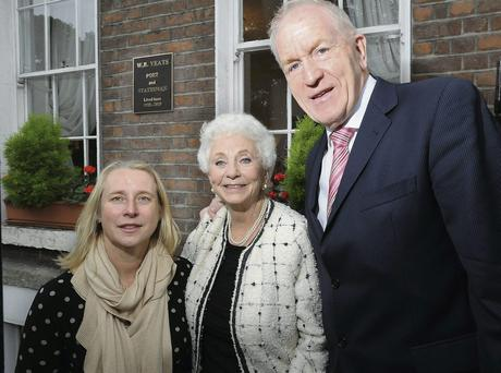 Pictured outside 96 St Stephen's Green are Fiona Ross Director of the National Library of Ireland, Dr Maureen Concannon who initiated the erection of the Yeats plaque andJimmy Deenihan Minister for Arts Heritage and the Gaeltacht.