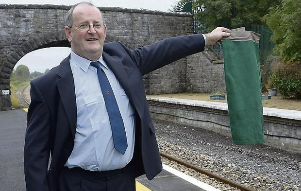 Tim on platform duty for the last time at Ballymote Station