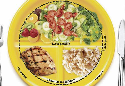 Imagine a dinner plate divided into four sections, one section for meat or fish, one section for carbohydrates and two sections for salads and vegetables.