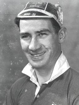 Sean Fallon pictured in the early 1950s with one of the eight caps he won for the Republic of Ireland
