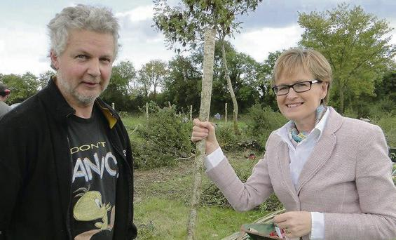 Joe Gowran, from Drumcliffe, with MEP Mairead McGuinness at the All-Ireland Hedge Laying Championship.