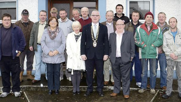 The Cathaoirleach of Sligo County Council, Clr Pat McGrath, and the Chairman of the new Ballymote Area Development Group, Padraig Rogers, pictured with Community Employment Scheme workers at the launch of the group's co-sponsorship of the scheme.