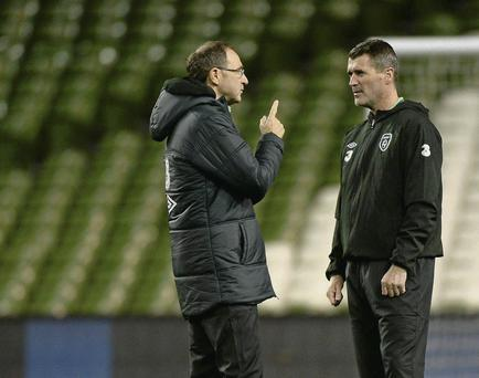 Martin O'Neill and Roy Keane at an Ireland squad training session.