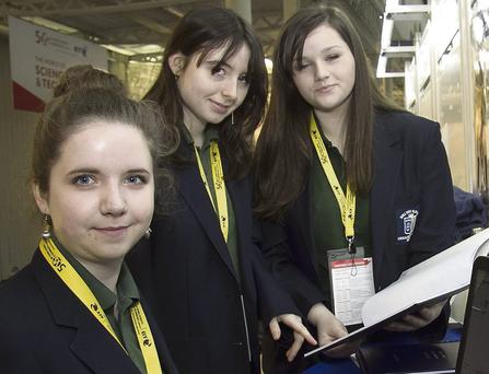 Pictured are Doireann Lawless, Michaela Healy and Niamh McMorrow from Ursuline College Sligo and their project 'Can You Affect the Way You Think or Does it Affect You' at the BT Young Scientist and Technology Exhibition 2014 which took place at the RDS Dublin.