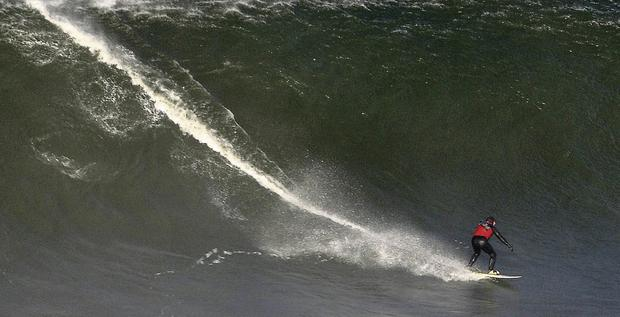 Up on a huge wave at Mullaghmore last Monday.