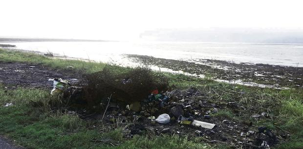 Some of the rubbish at Rathlee beach.