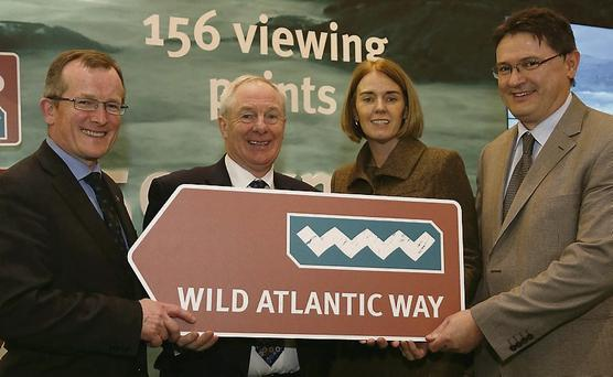 Niall Gibbons, Tourism Ireland CEO; Minister Michael Ring; Fiona Monaghan, Fáilte Ireland; and Joe Gilmore, Ireland West Airport Knock, at the World Travel Market in London.