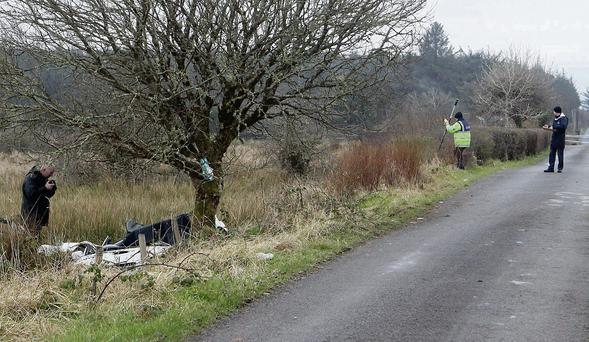 The scene of the fatal crash near Sooey in March 2013 which claimed the lives of Declan McCormack and Owen Kelly.