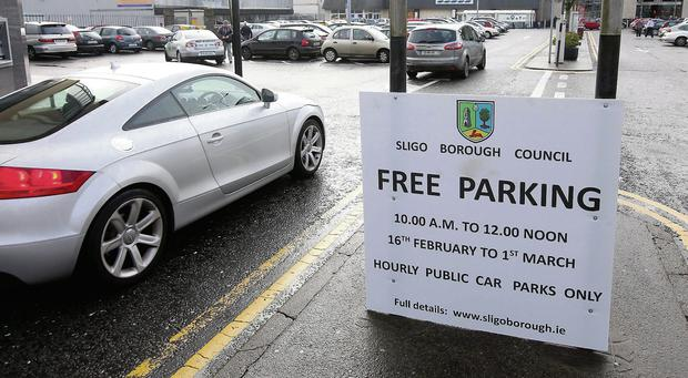 Sligo's car parks will be free for two hours every morning for the next two weeks.