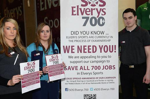 Elverys staff Sarah Porter, Mairead McGill and manager Alan Burke.