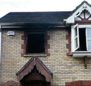 The house in Aylesbury Park where Catriona Feely died on Friday following a fire.