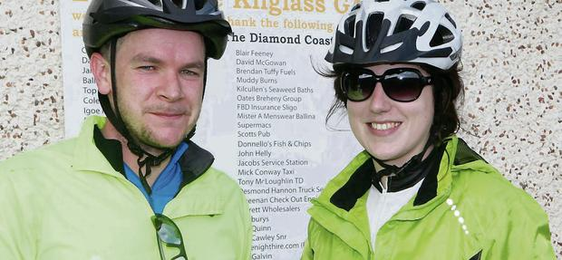 Mark Barr and Sligo Champion reporter Emma Gallagher at the food stop.