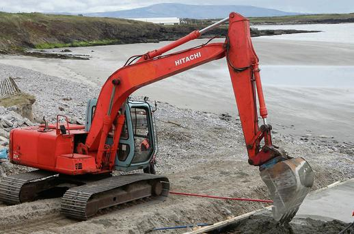 Sligo County Council beginning work on new walkways at Rosses Point last Friday.