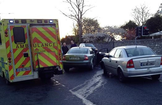 The scene of the crash at the junction of the Strandhill Road/Sea Road/Kevinsfort last Thursday evening.
