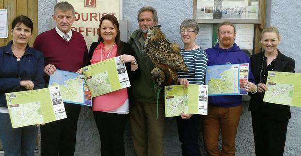 Pictured at the launch of the new Tubbercurry Tourist Map were from left Patricia McCarrick, Peter Brennan, Helena Brennan, Lothar Muschketat, Eagles Flying, Nuala Mullaney, John Barrett and Teresa Cawley.