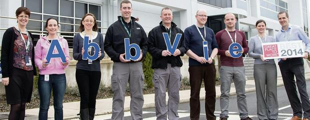 AbbVie in Sligo has been officially recognised as one of Ireland's Best Workplaces 2014. (Pictured, l to r) Helen Harrington HR Manager, Linda Rooney, Pharmaceutical Technician, Aisling McCabe, Operations Accountant; Declan Flynn, Device Technician, John Feeney, Group Leader; James McGuinness, QA Project Coordinator; Daithi Condon, Pharmaceutical Technician; Caroline McClafferty HR Director; and Ronan McGarvey Quality Director.