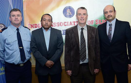 Garda Daniel Sweeney, District Officer; Ninan Thomas, President of the India Association of Sligo; Sgt Jim Fox, Crime Prevention Officer and Anirban Bhanja Sec of the India Association of Sligo.