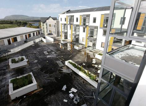 The derelict Avena Mills apartment complex in Ballisodare has become a target for anti-social behaviour.