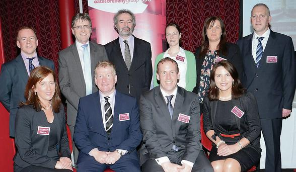 Back row: Shane Breheny, Oates Breheny; Dermot McConkey, McConkey Training and Marketing LTD; Austin Hughes Chief Economist, KCB Bank; Sinead Henry, Oates Breheny; Deidre Costello, Oates Breheny; Sean Niland, Oates Breheny; Front row: Sinead Walsh, Oates Breheny; Padraic Oates, Oates Brehny; Tommy Breheny, Oates Breheny; and Ciara Downs, Oates Breheny.