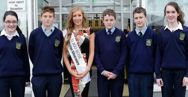 Coola PPS welcomes Irene Hennessy back to her Alma Mater. Pictured are Niamh Lynch, Dylan McDermott, Irene Hennessy, Conor Whelehan, Sean Caulfield and Megan Little.