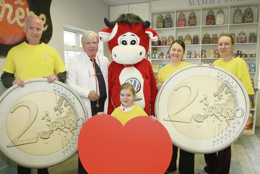 Joe Waters, RTE's Francis Brennan, Benny the Bull, Helen Johnson, Abigail and Jenny Higgins making an appeal for text donations in aid of cardiac services at Sligo Regional Hospital.