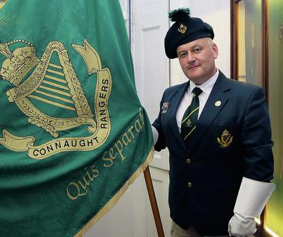 William Beirne, chairman Connaught Rangers, at the exhibition opening.