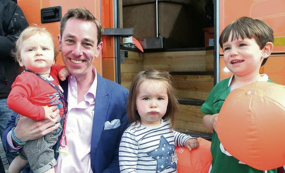 Ted, Emily Jane and John Joe Norton from Hazelwood pictured with Ryan Tubridy during his 2FM show from Strandhill on Monday.