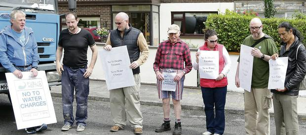 Some protestors against water meter installation at Carton Heights, Sligo on Wednesday afternoon.