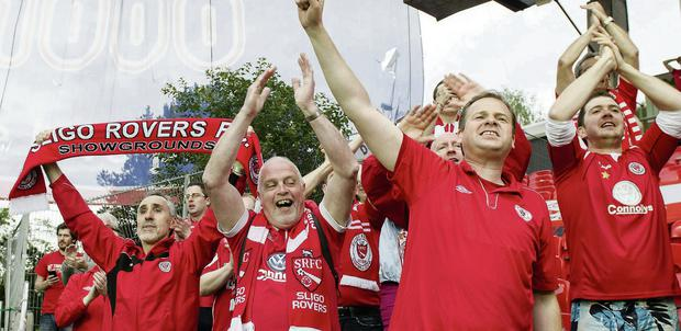 Joe Molloy (centre), with Sean Crossan (left) celebrate after Sligo Rovers victory over Rosenborg in Norway last Thursday