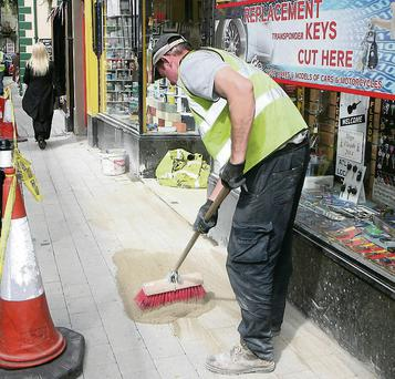 Refurbishment of the footpaths on Castle Street last Friday