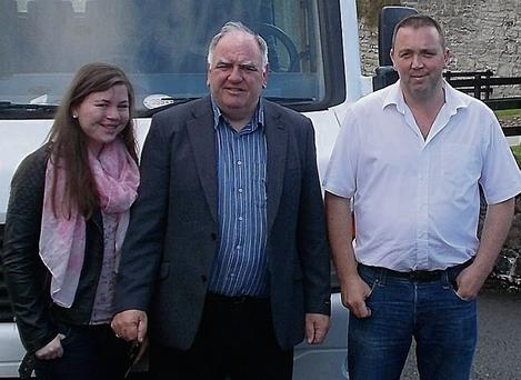 John Reynolds, shuttle bus operator, his daughter Fionnuala and JJ O'Hara, Leitrim Tourism Network at Parke's Castle.