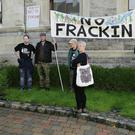 Anti-fracking protestors outside City Hall where councillors held a special meeting to debate the issue