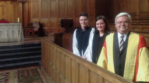 Pictured left to right are Paul McDonagh-Forde, organ scholar; Eleanor Jones-McAuley, conductor; and Dr Kerry Houston, director of chapel music at Trinity College.