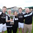 (L-R) James, Eileen, Sarah, David and Michael Kelly celebrating in Markievicz Park