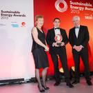 Pictured at the Sustainable Energy Awards were: Julie O'Neill, Chairperson of SEAI; winner Peter Moran of AbbVie Ireland, Sligo and Minister Alex White