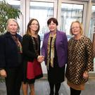 Minister Phelan being welcomed to Teach Laighne by Senator Susan O'Keefe, Louise Kilbane, Chairperson Tubbercurry Chamber of Commerce and the Cathaoirleach of Sligo County Council, Cllr Rosaleen O'Grady