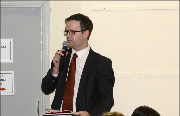 Aurivo General Manager Eoghan Sweeney addresses the crowd at the protest meeting in St Nathy's Hall, Mullinabreena on Monday February 15th. Pic: Tom Callanan