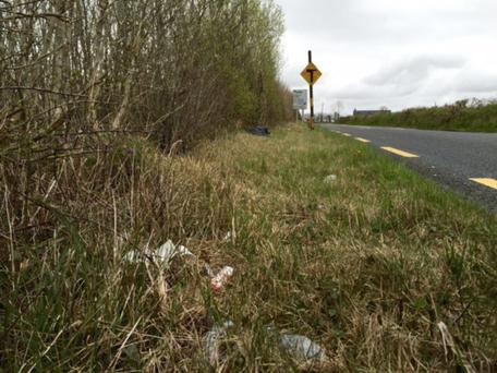 The litter-strewn roadside scene at Clarke's Bridge between Ballymote and Collooney yesterday. Pic: Cllr Keith Henry