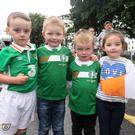 Scott Gethins, Keelan Noonan, Daniel Noonan and Leigha Gethins pictured before the big game at the fanzone in Stephen Street Car Park last Sunday
