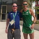 Ray with Ireland racewalker, Alex Wright outside the team's camp in the Olympic village in Rio