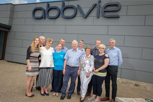 Members of the AbbVie Challenge cycling team are joined by representatives of Move4Parkinsons at a recent presentation event in AbbVie's medical device centre of excellence in Ballytivnan, Sligo