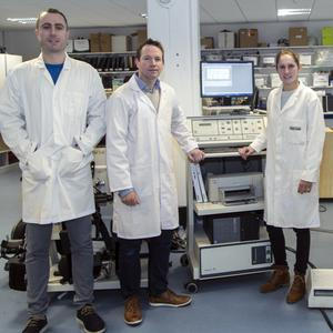 L-R: PhD researcher Patrick Broderick, Director Clinical Health and Nutrition Centre Dr Ken Monaghan and PhD researchers Monika Ehrensberger and Daniel Simpson in their lab at IT Sligo