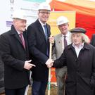Forthill resident Danny Monaghan pictured with Tony McLoughlin TD, Minister Simon Coveney TD, Cathaoirleach of Sligo County Council, Clr. Hubert Keaney, Clr Dara Mulvey and Ciarán Hayes, CEO Sligo County Council at the turning of the sod for a new 22 unit housing scheme at Fr O'Flanagan Terrace last Friday