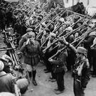 10th February 1939: General Solchager receives Franco's Spanish Nationalist troops at Col De Portus, a deep valley in the eastern Pyrenees, during the Spanish Civil War